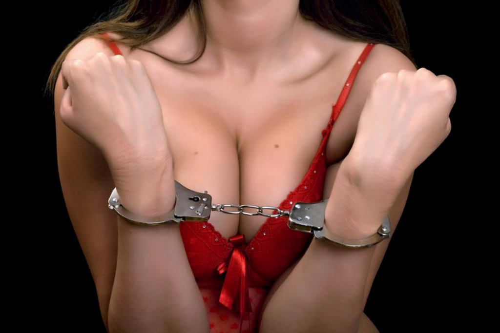 BDSM Sexy Red Dress And Handcuffs
